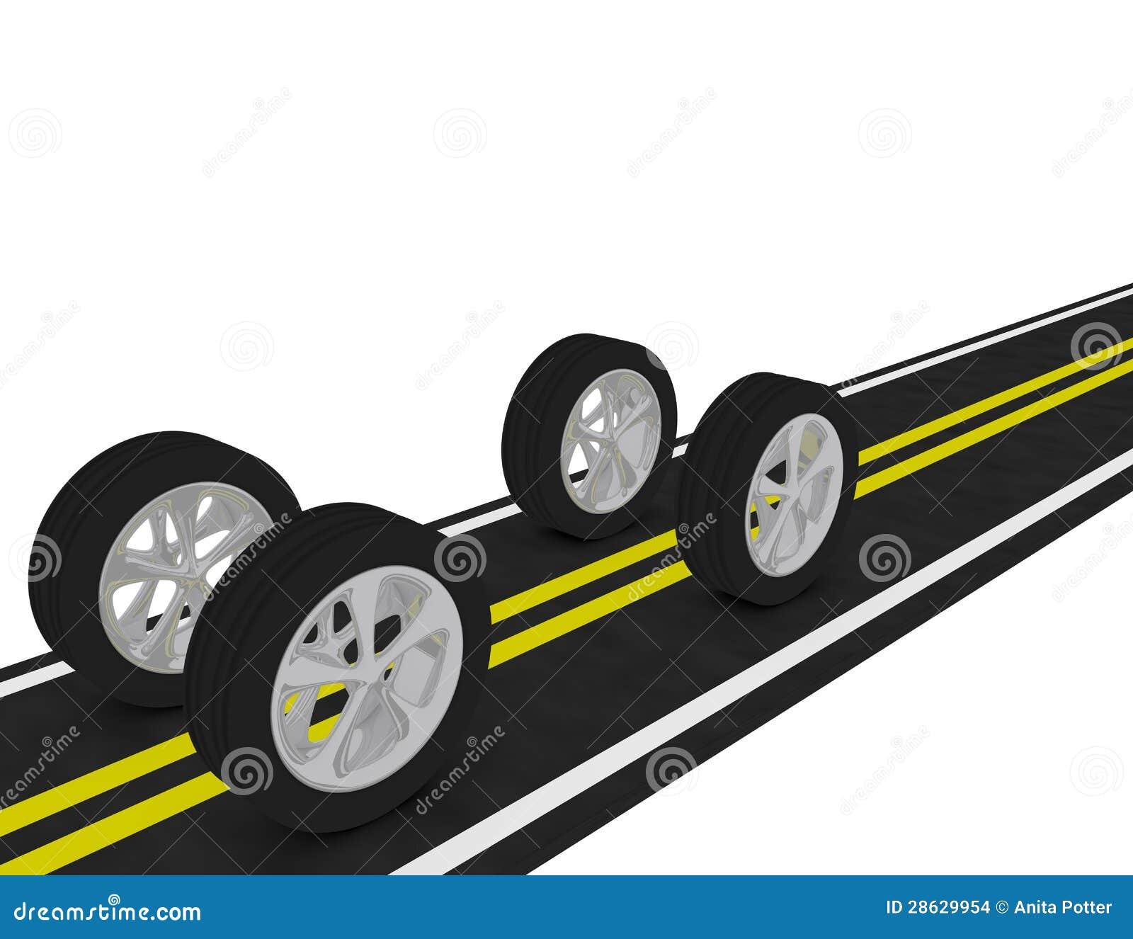 3d回报在路的4个轮胎
