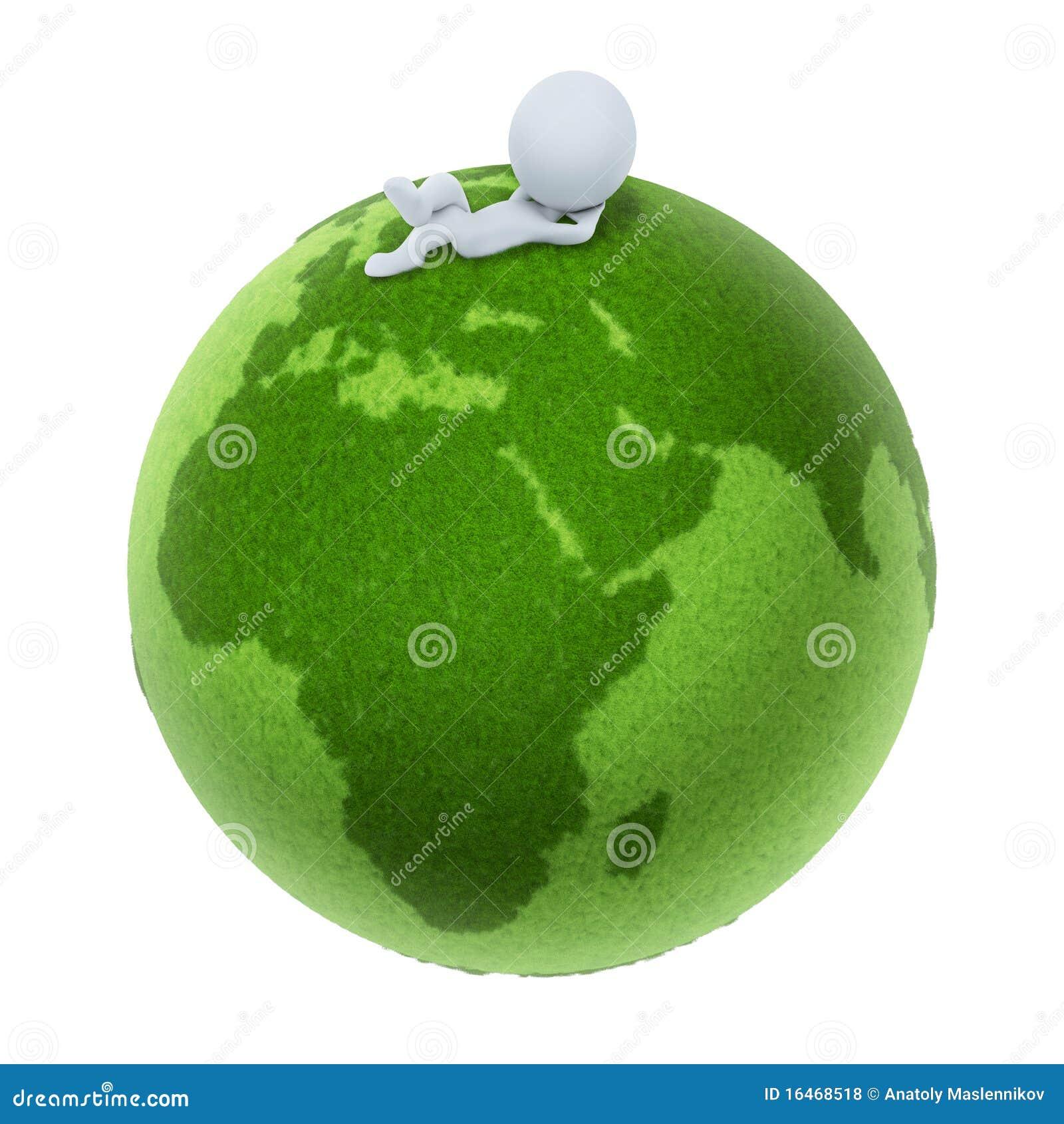 3d地球小绿色的人