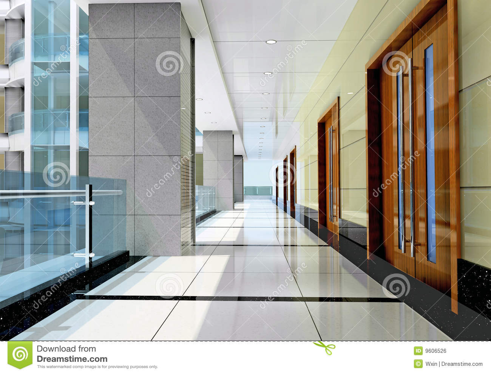 3d未来派的走廊