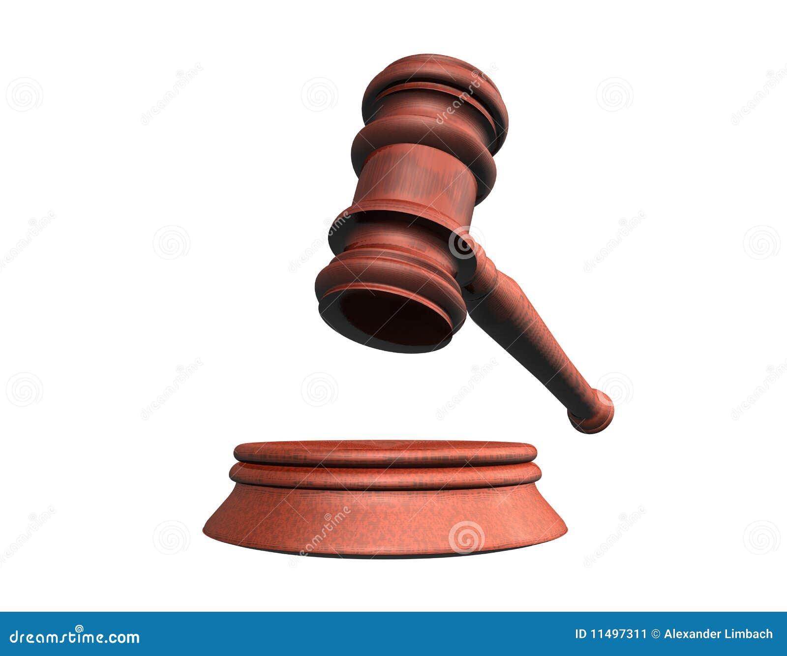 3d背景锤子例证法官看起来空白.