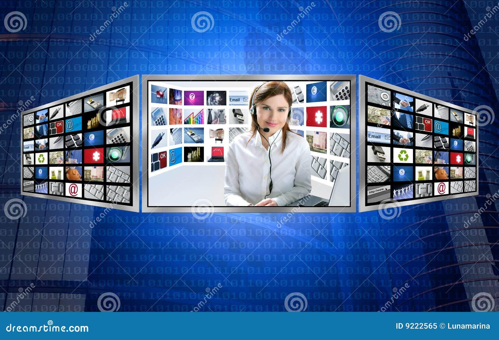 3d美丽的显示新闻红头发人电视妇女