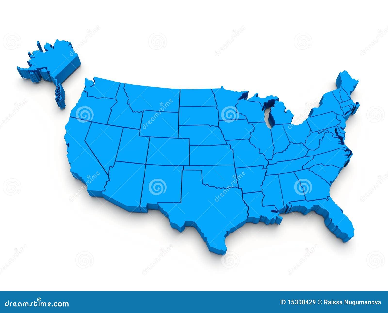 3d蓝色映射美国