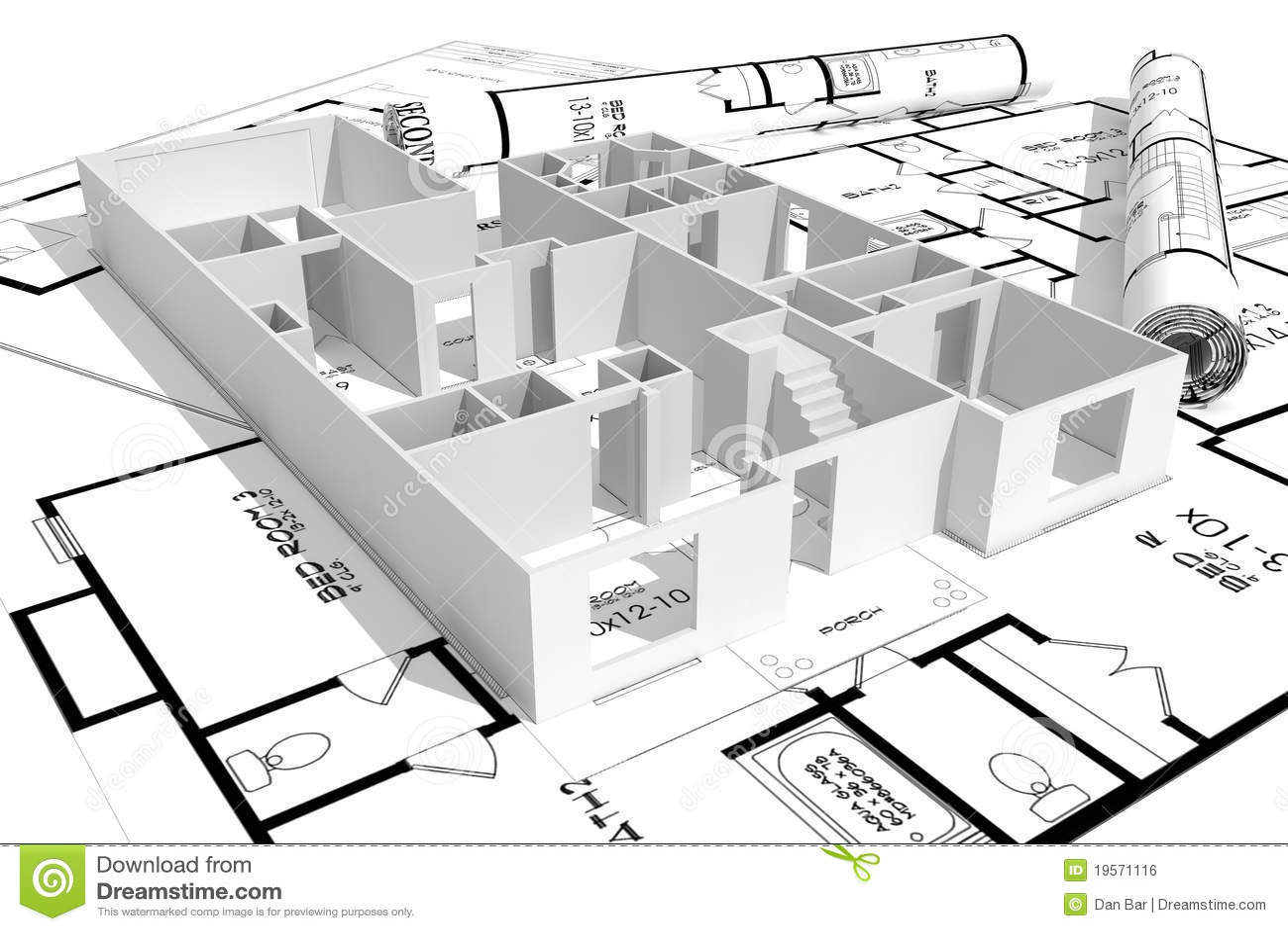 3d计划房子查出的现代白色