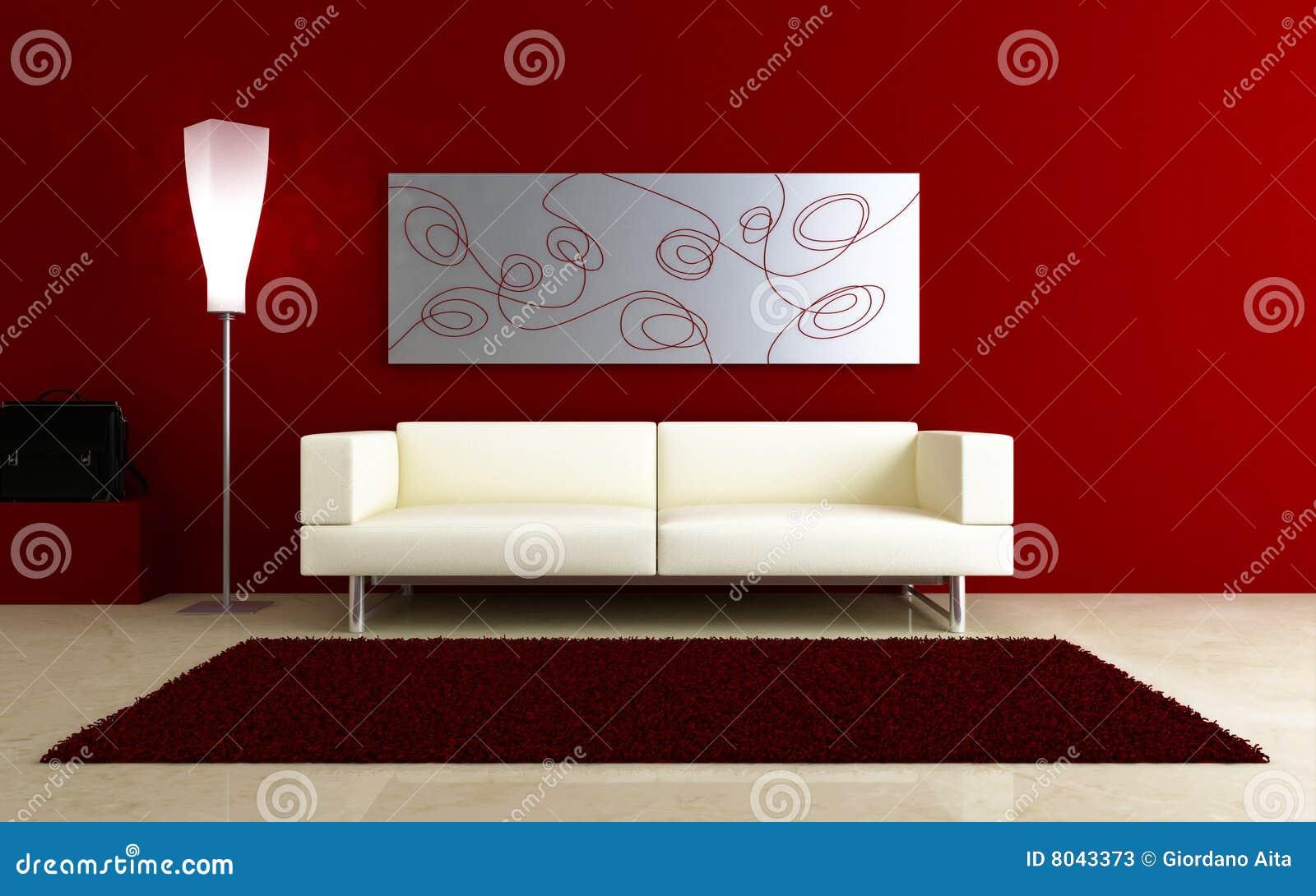 3d长沙发内部红色空间白色
