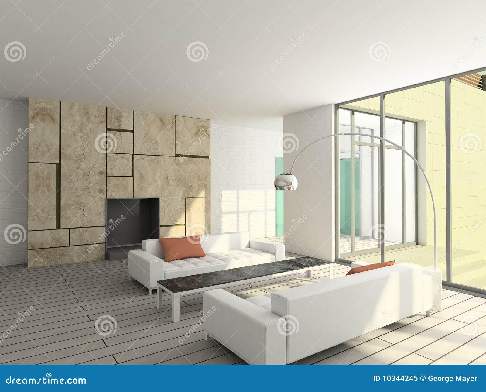 3D übertragen Modernen Innenraum Des Wohnzimmers Stockbild - Bild ...