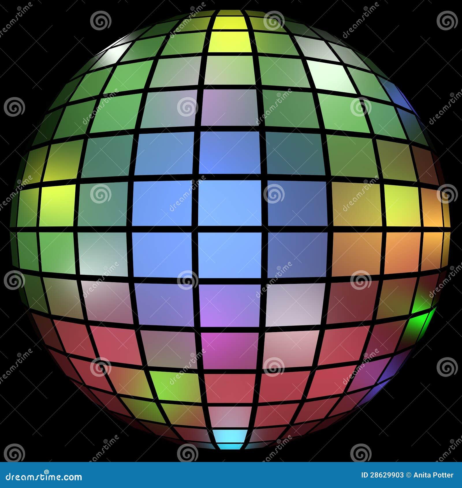 3d представляют цветастого шарика диско