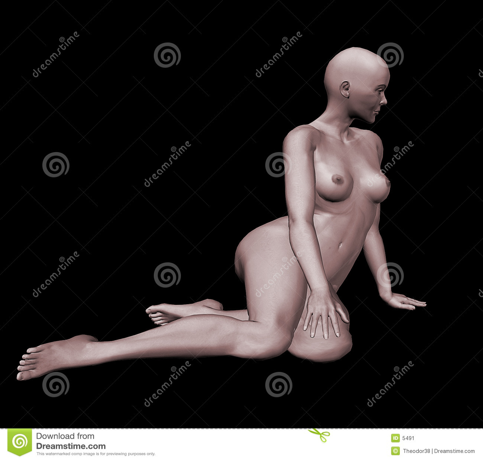 3d裸体妇女