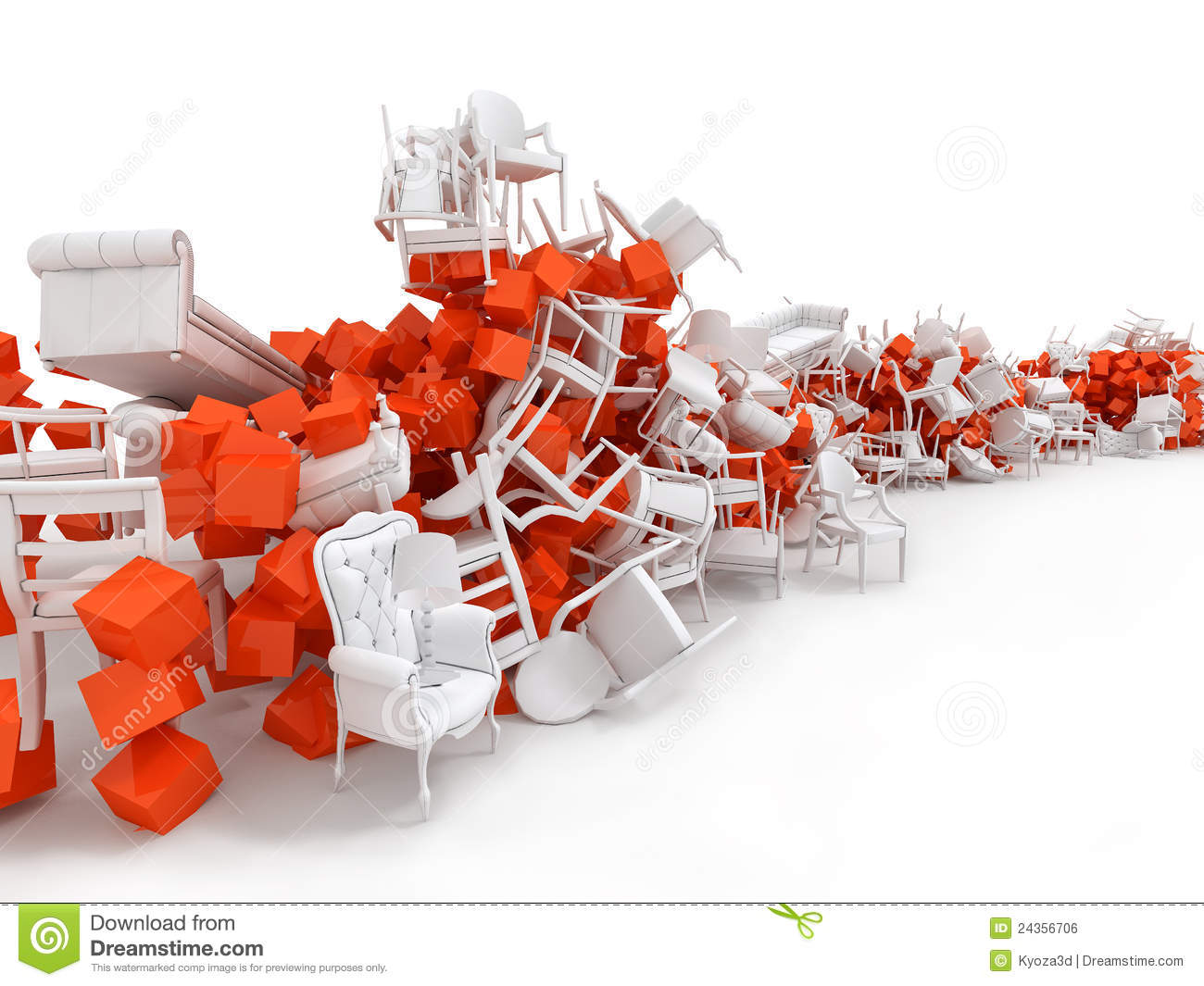 3d Abstrack Scene With Messy Chairs Royalty Free Stock