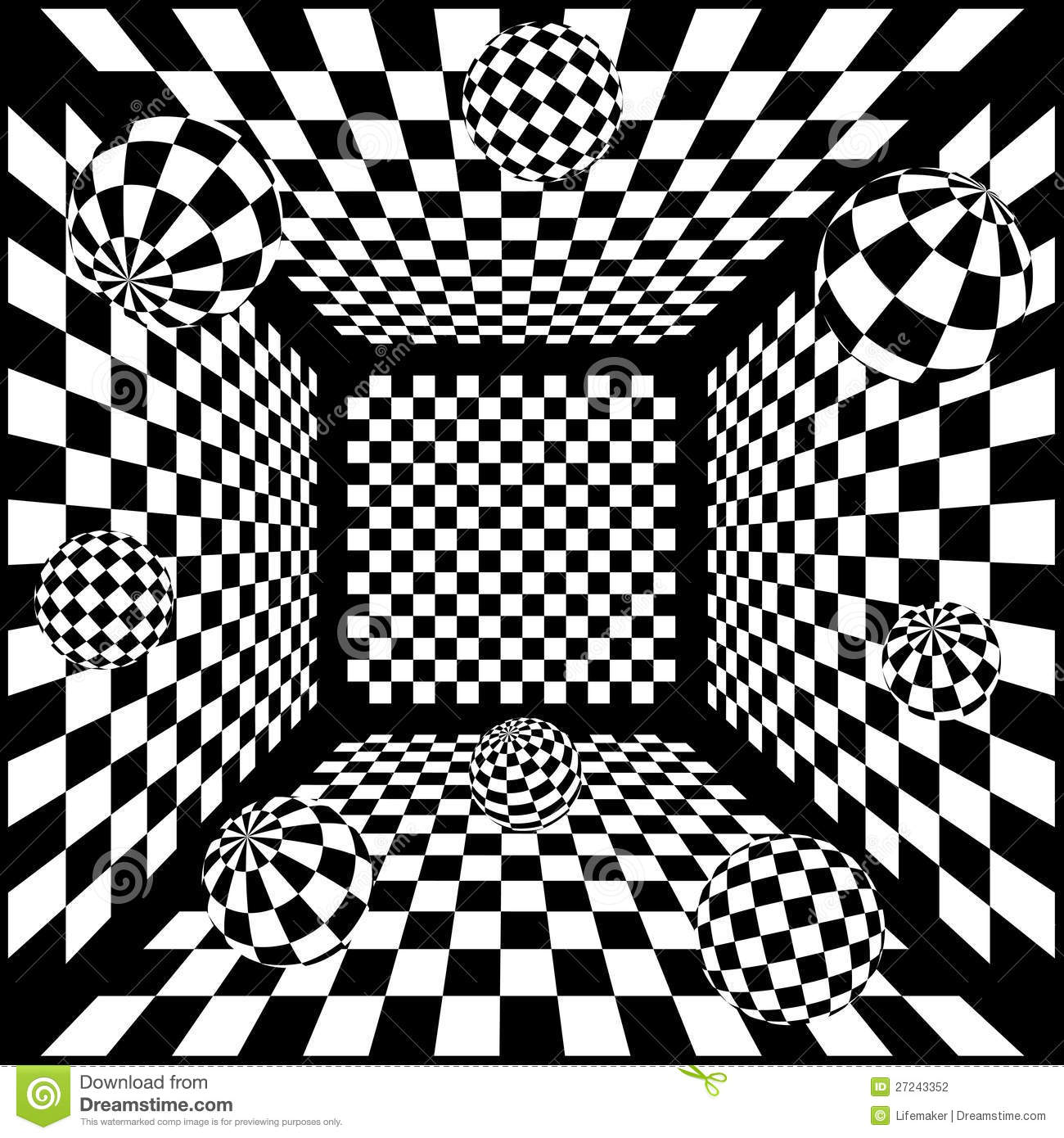 3d abstract black and white chess background with
