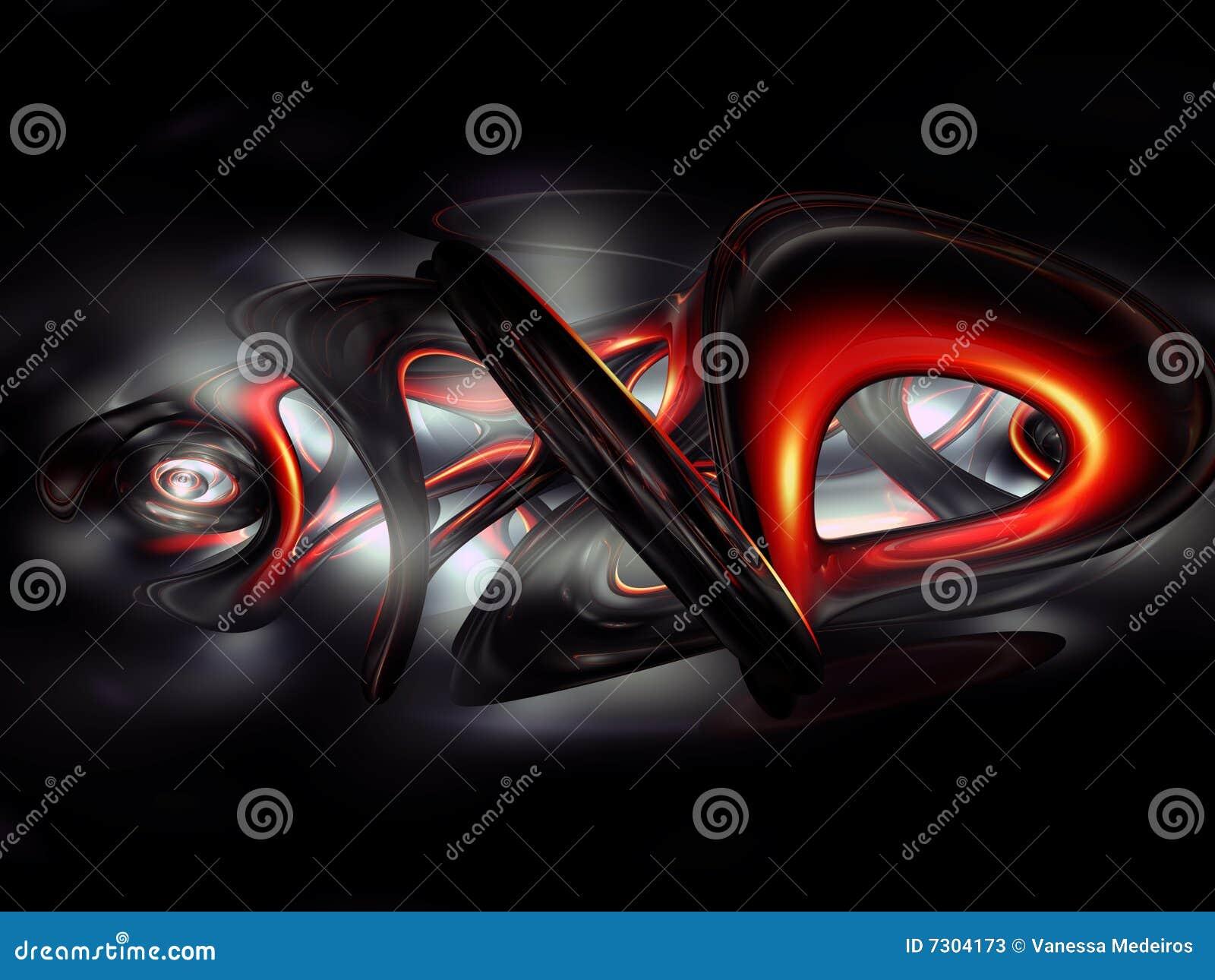 3d Abstract Graffiti Red Render Dark Gray Black Stock Illustration