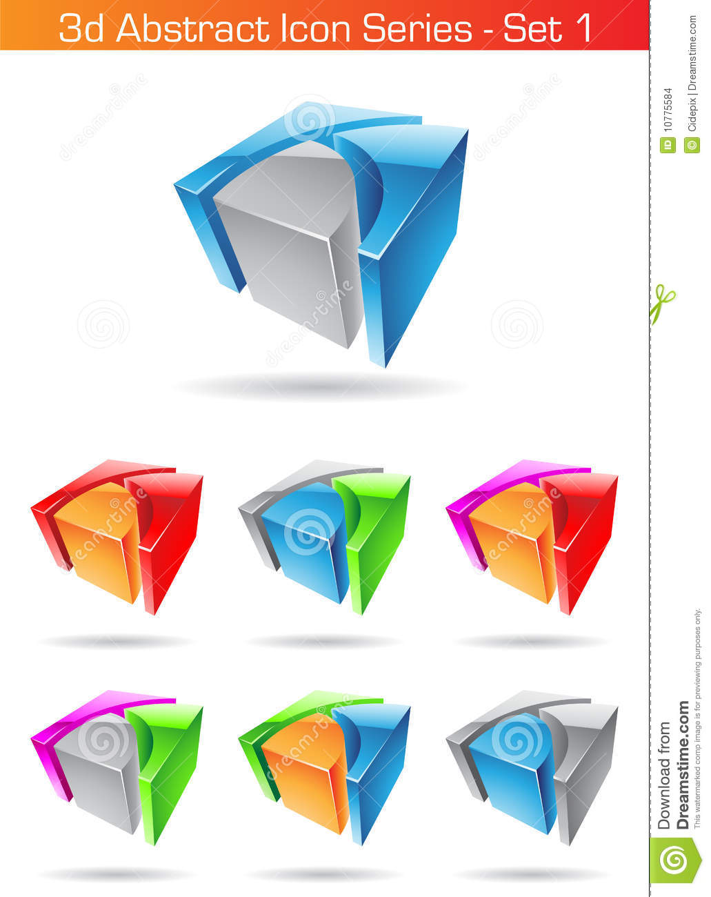 3d Abstract Icon Series - Set 1