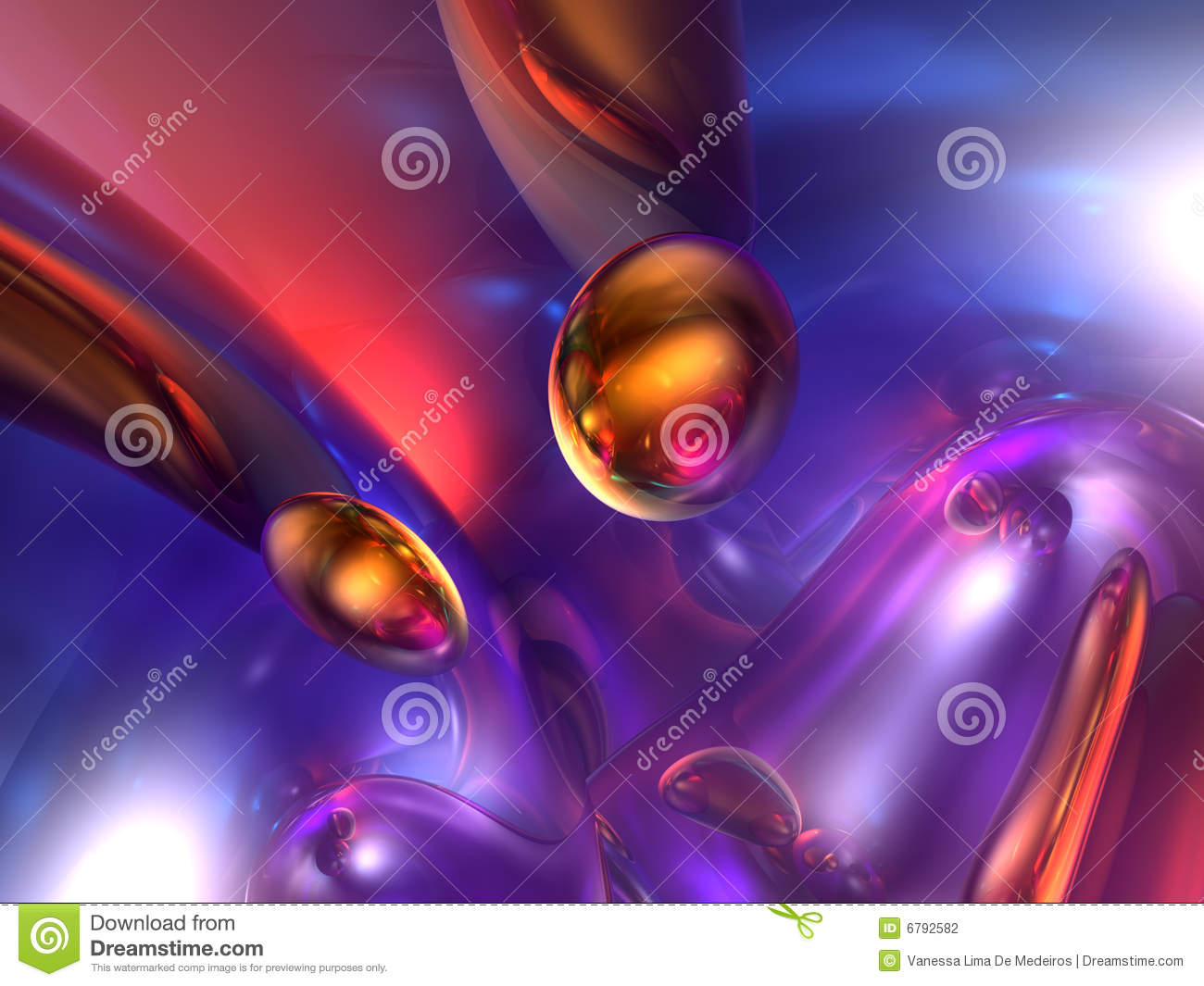 3d abstract purple red orange color glossy render stock