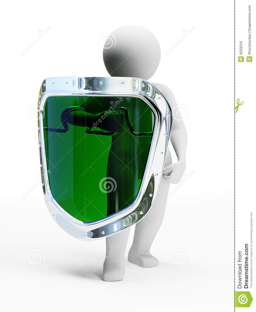 3d abstract security person with green shield royalty free stock images image 9233219. Black Bedroom Furniture Sets. Home Design Ideas