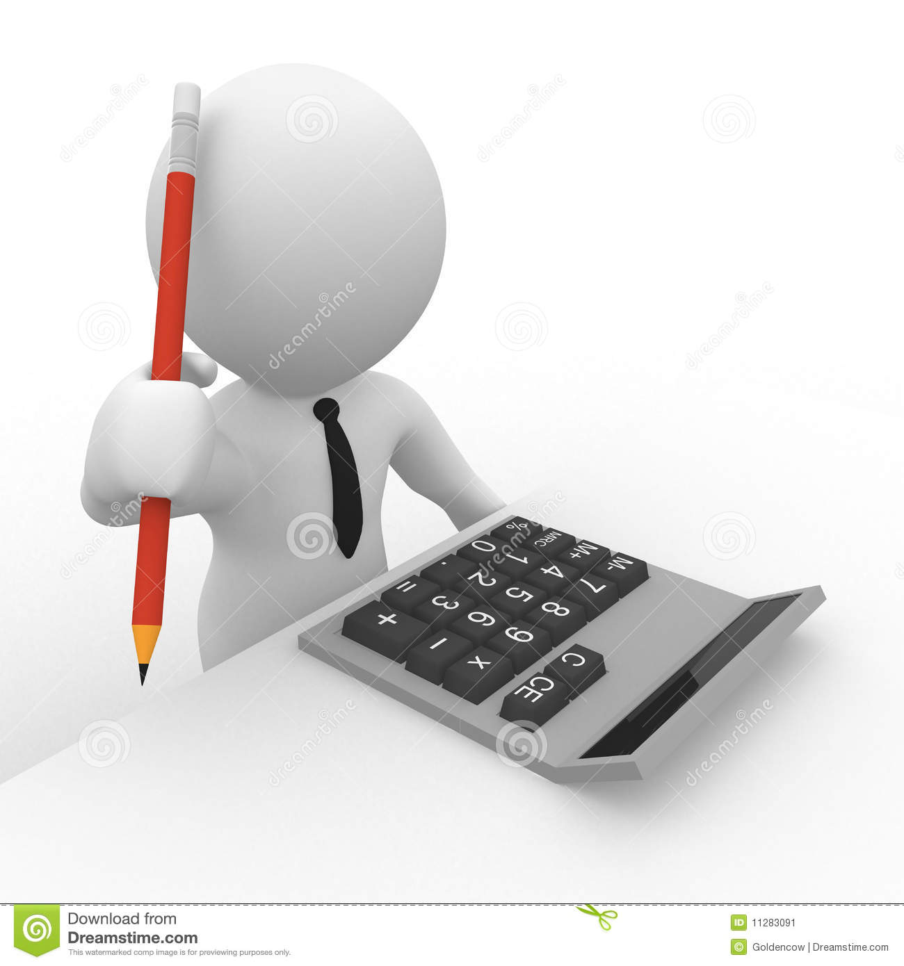 3d Accountant With Calculator And Pencil Stock