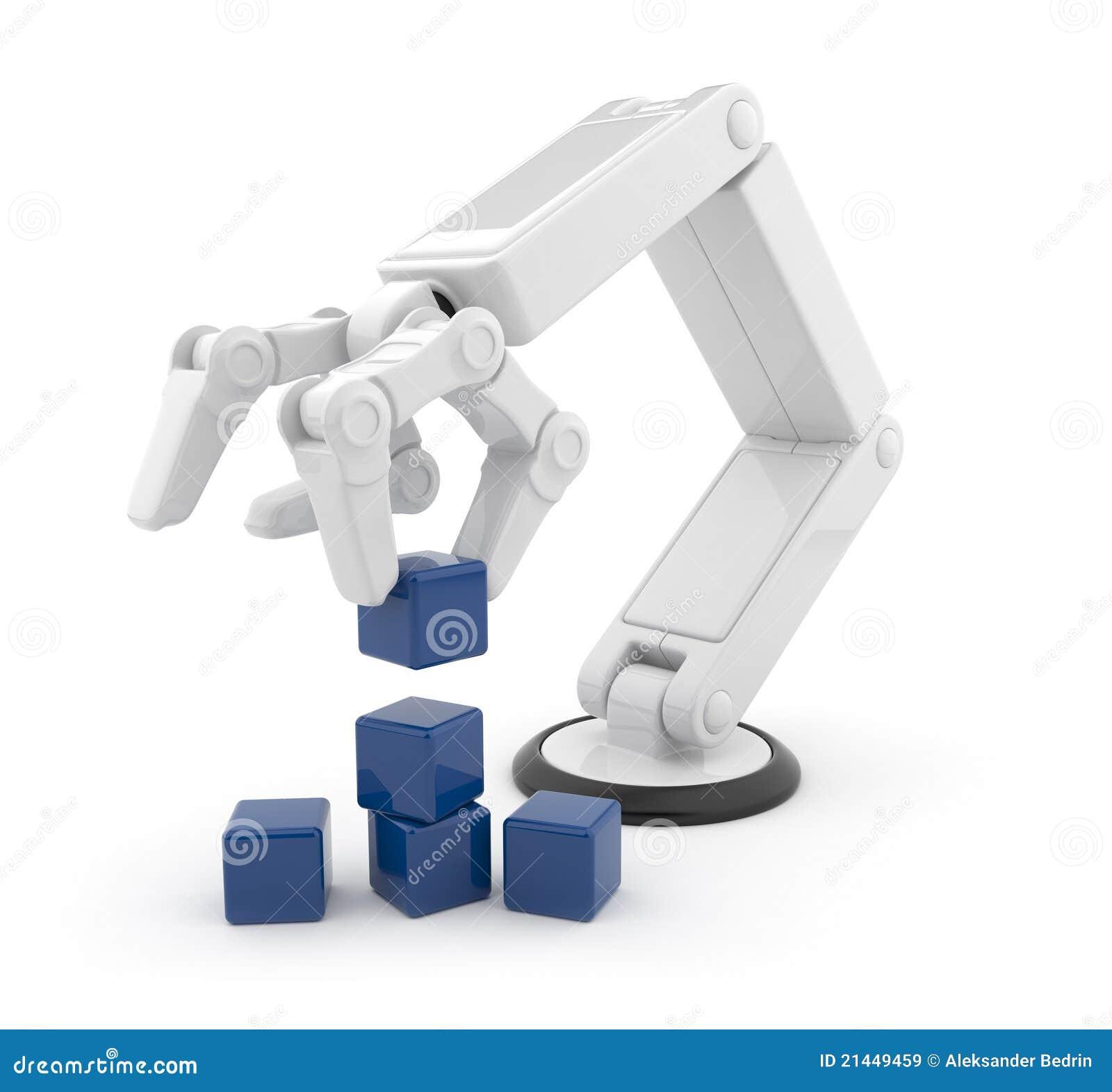 3d ai sześcianu gromadzenia się ręka mechaniczna