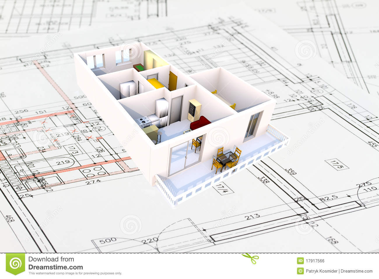 3d apartment plan royalty free stock image image 17917566 for Plans architecturaux des maisons
