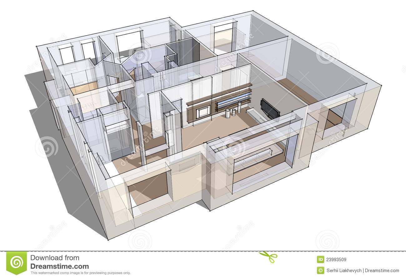3d apartment sketch stock illustration image of prints for Small apartment design 3d