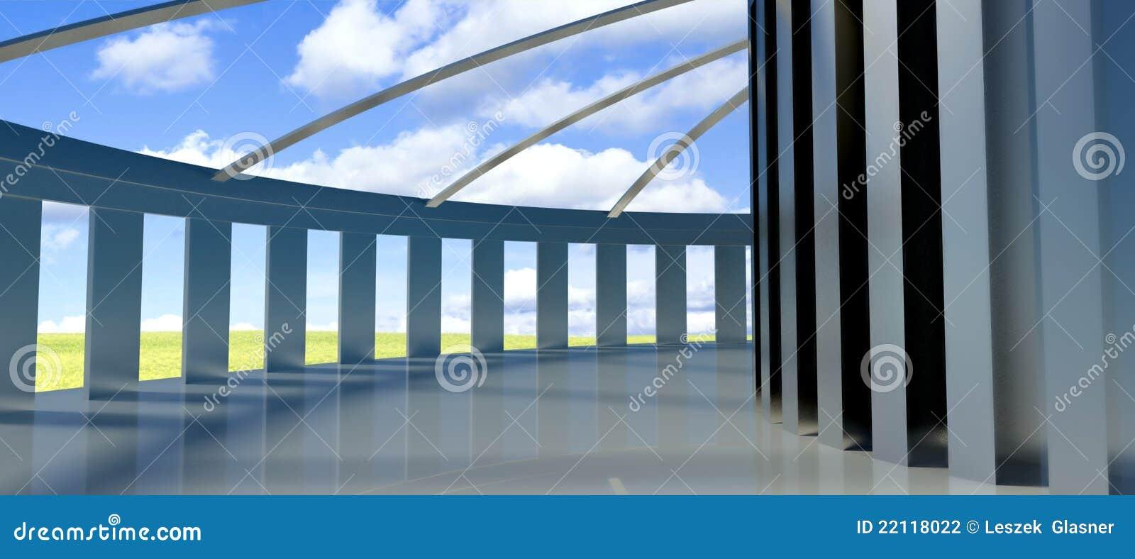 3d architettura futura corridoio con le colonne for Programmi 3d architettura