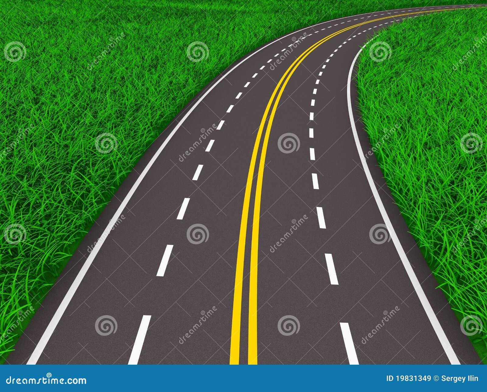 3d asfalterad gräs isolerad väg