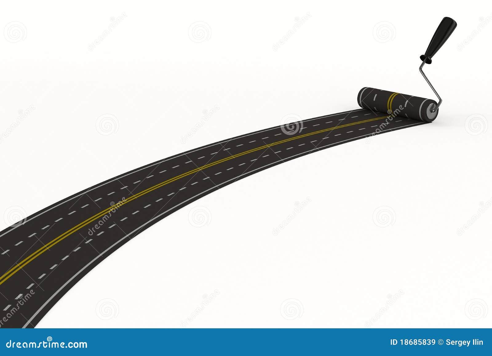 3d asfaltujący odosobniony drogowy biel