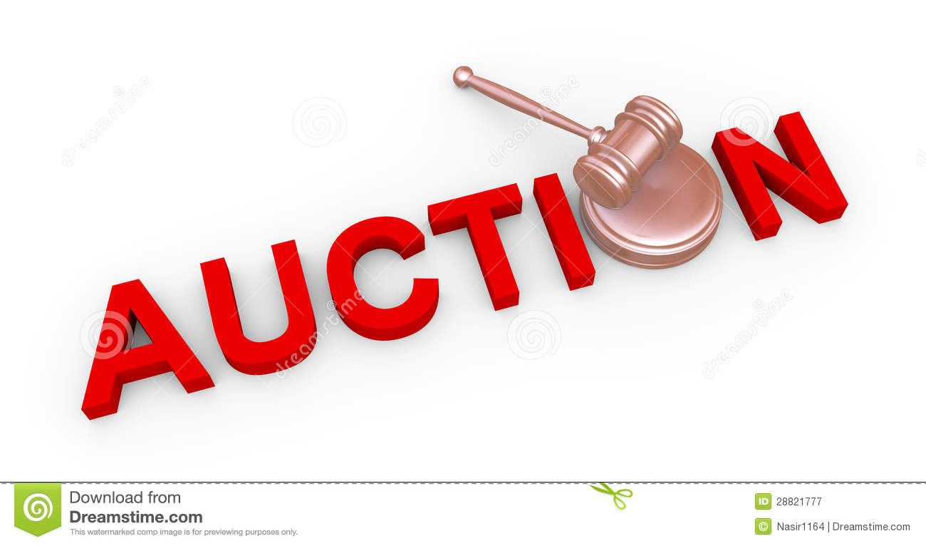 3d auction and gavel 3d render of wooden gavel and word red auction royalty free