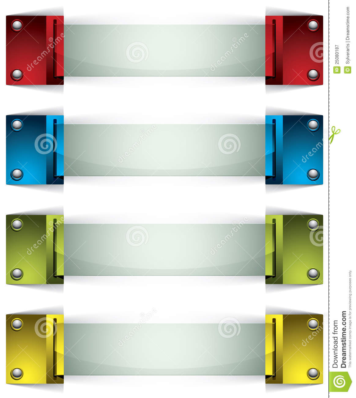 3d Banners With Buttons And Glass. Royalty Free Stock