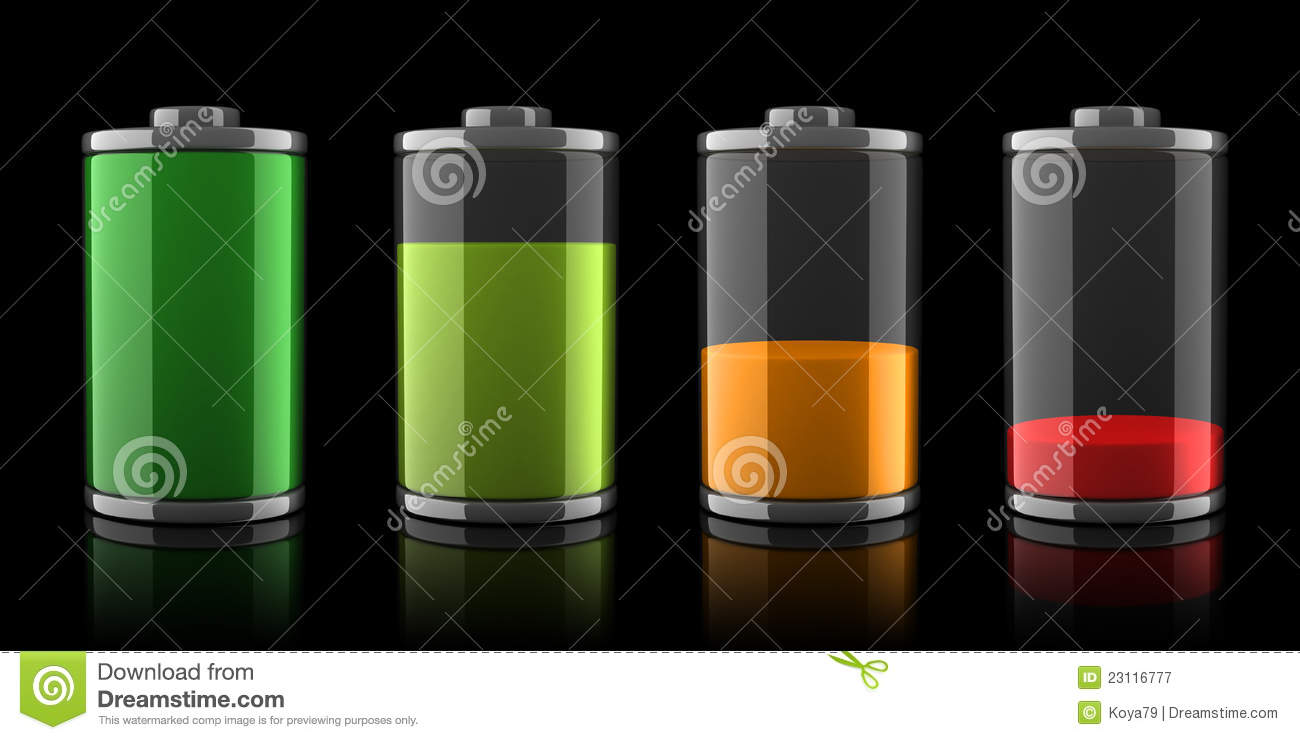 3d Battery Icons With Different Charge Levels Stock