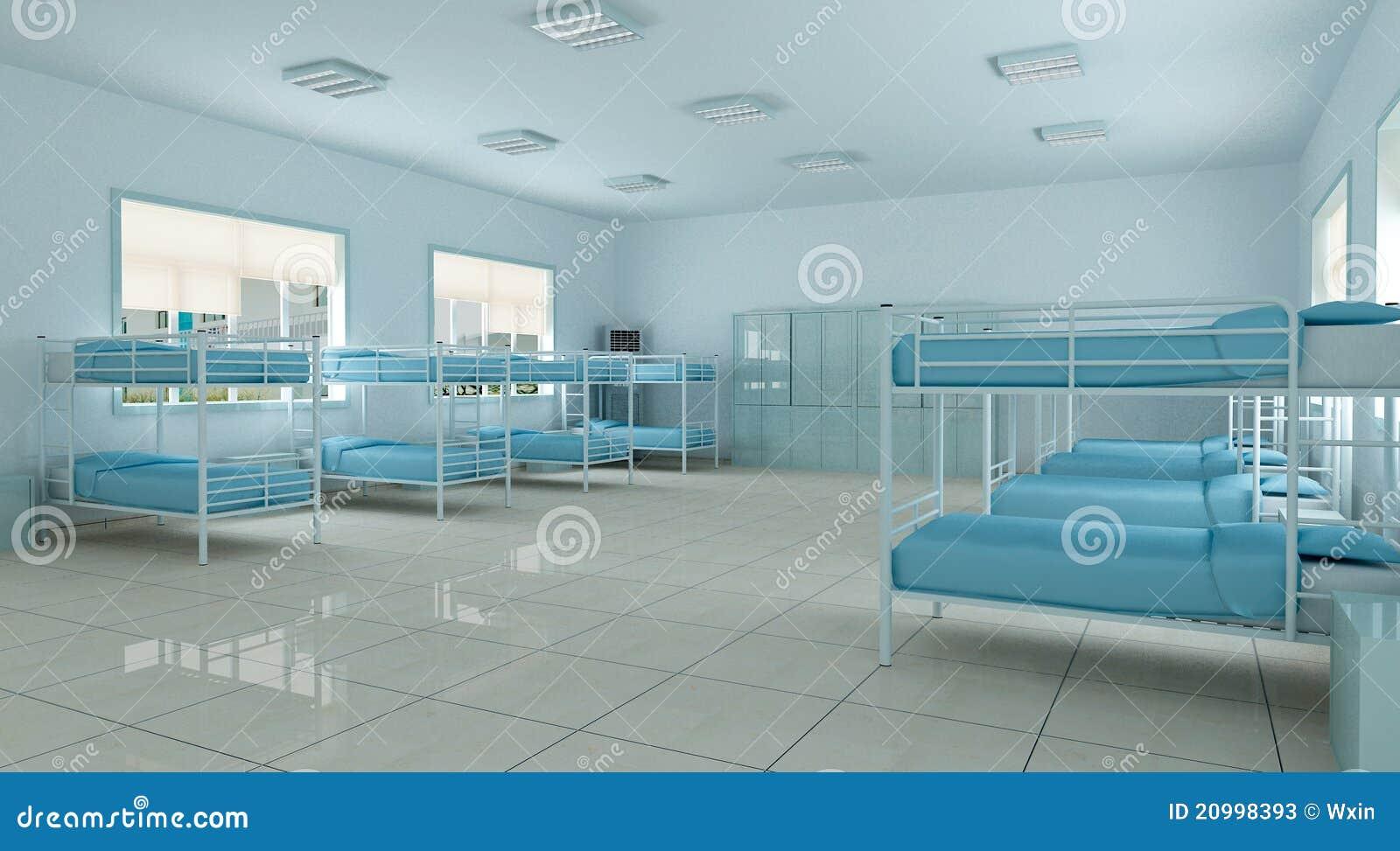 3d Bedroom Youth Hostel Dorm Room Stock Illustration