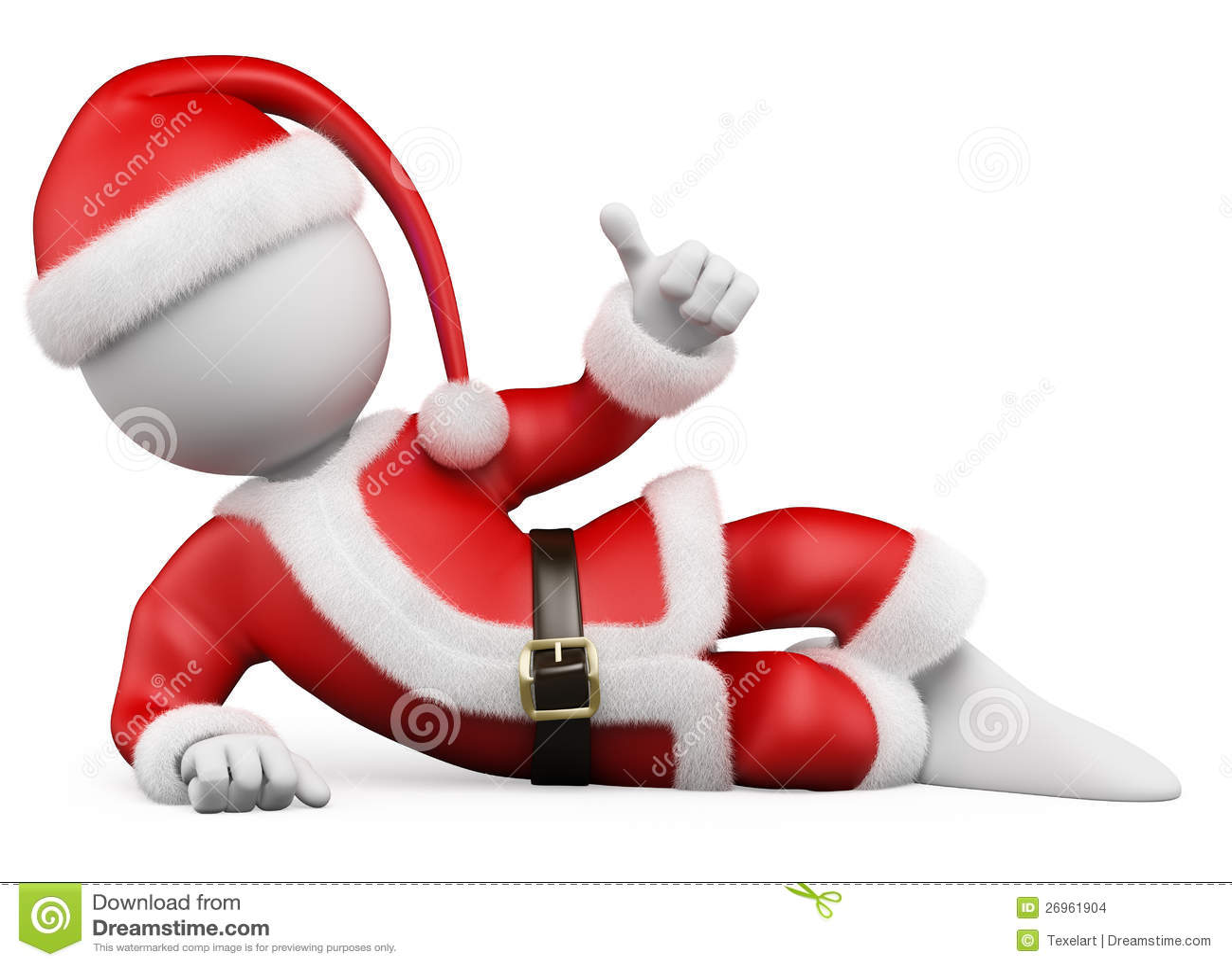 3D biały ludzie. Święty Mikołaj target43_1_ z kciukiem kciuk