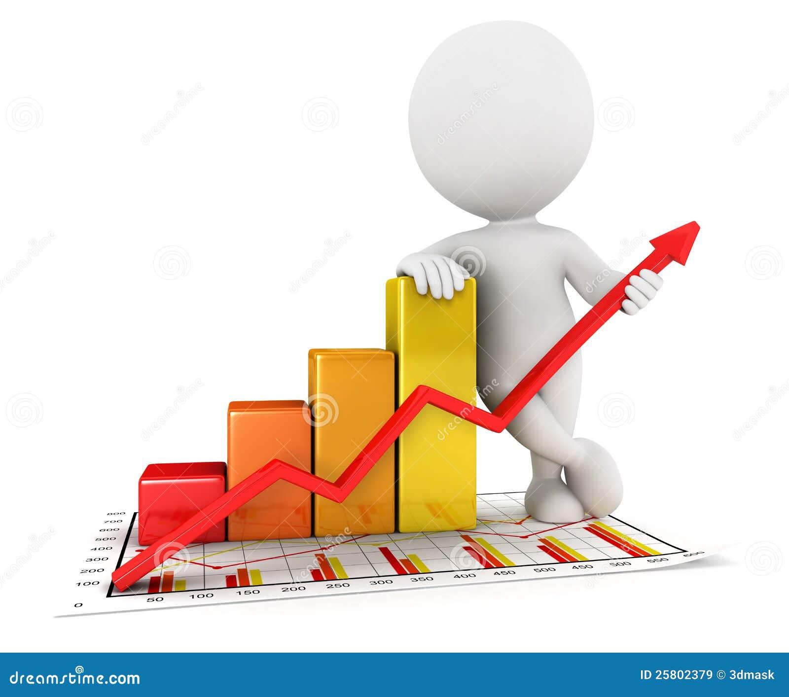 3d biały ludzie biznesowej statystyki wykresu