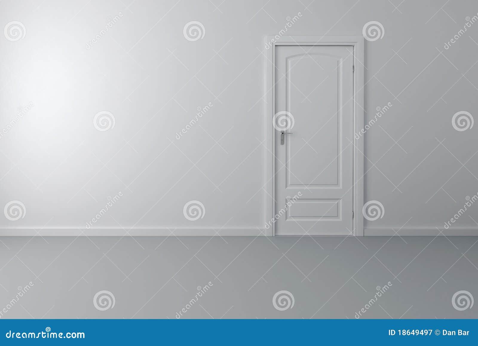 3d binnenland met witte deur en muren stock illustratie for Paredes y puertas blancas
