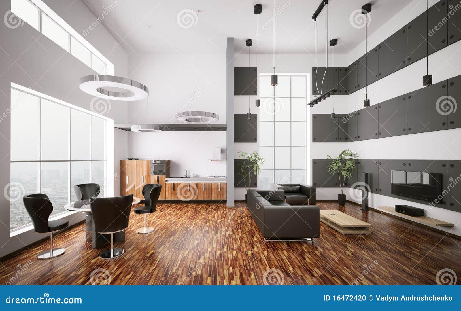 3d binnenland van moderne flat geeft terug