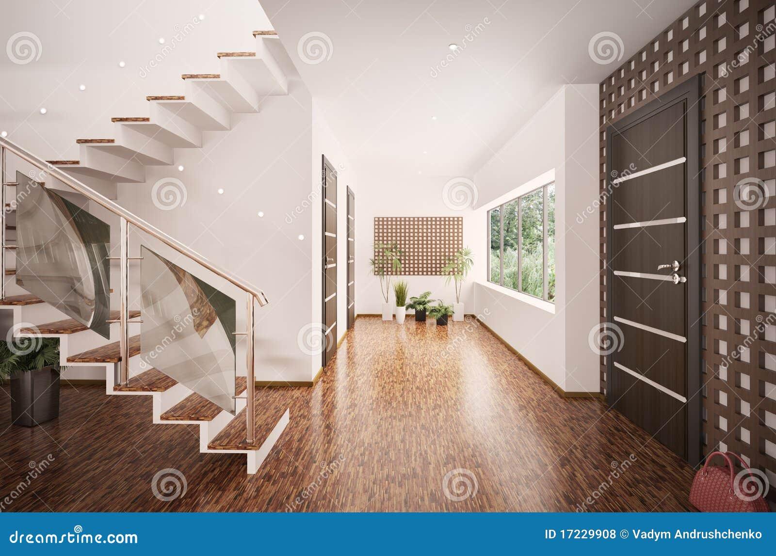 3d binnenland van moderne hal geeft terug royalty vrije stock foto 39 s afbeelding 17229908 - Hal ingang design huis ...