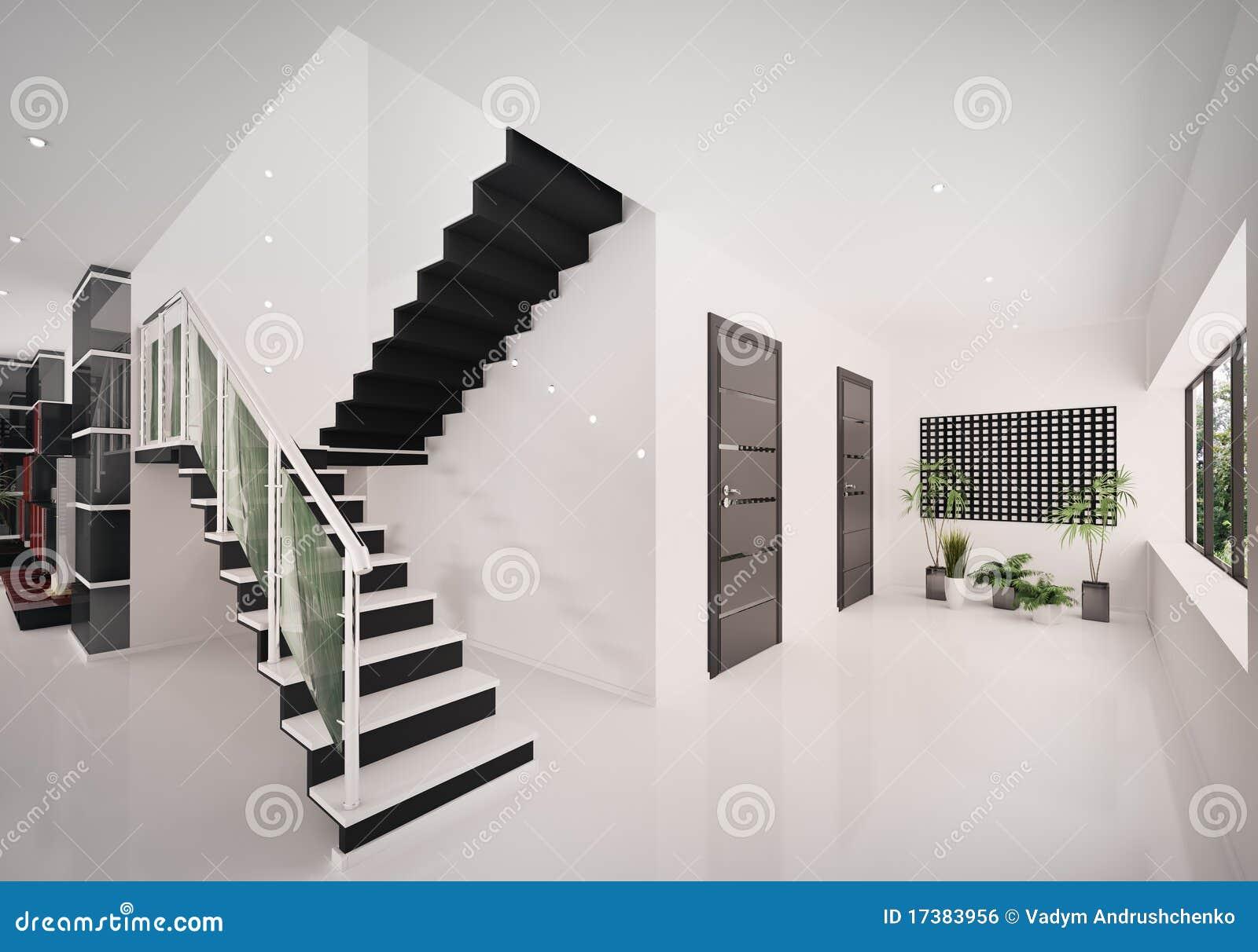 3d Binnenland Van Moderne Hal Geeft Terug Stock