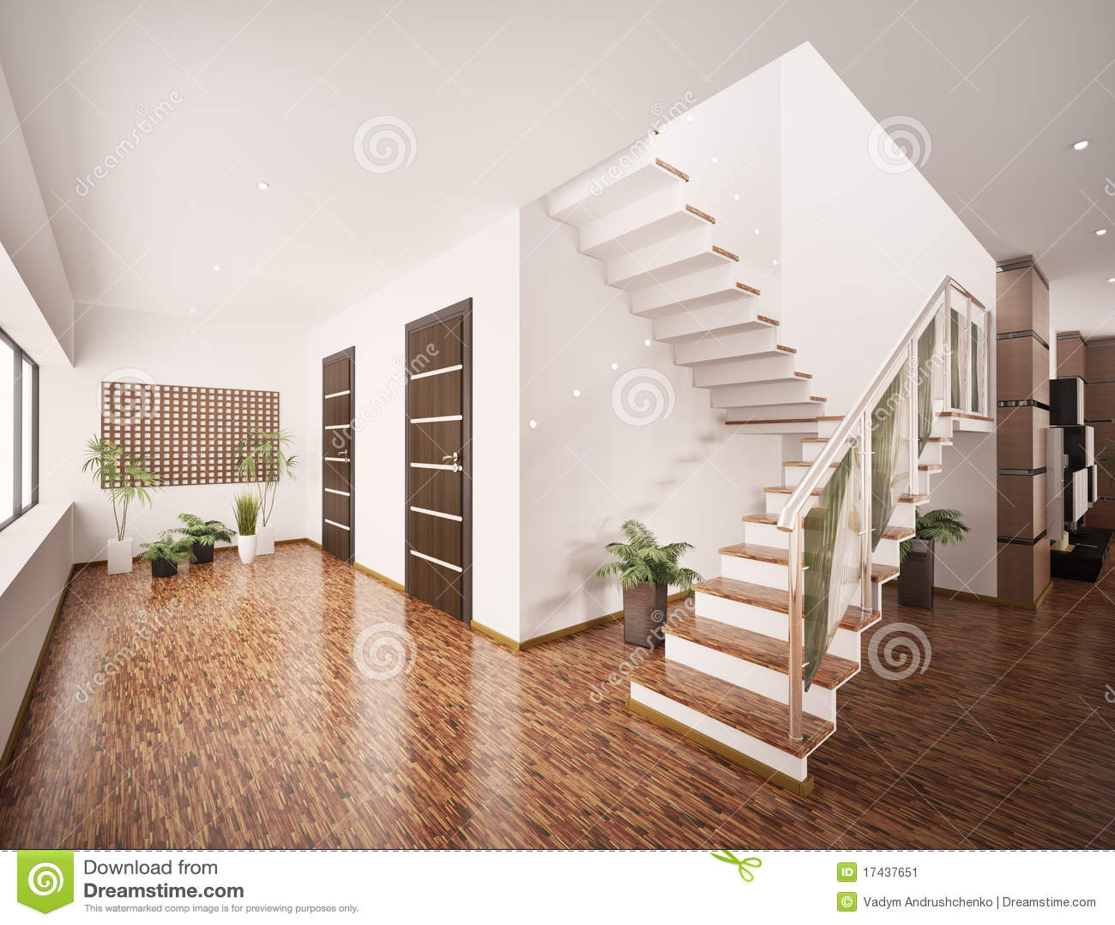 3d binnenland van moderne hal geeft terug stock illustratie afbeelding 17437651 - Huis entree van hal ...