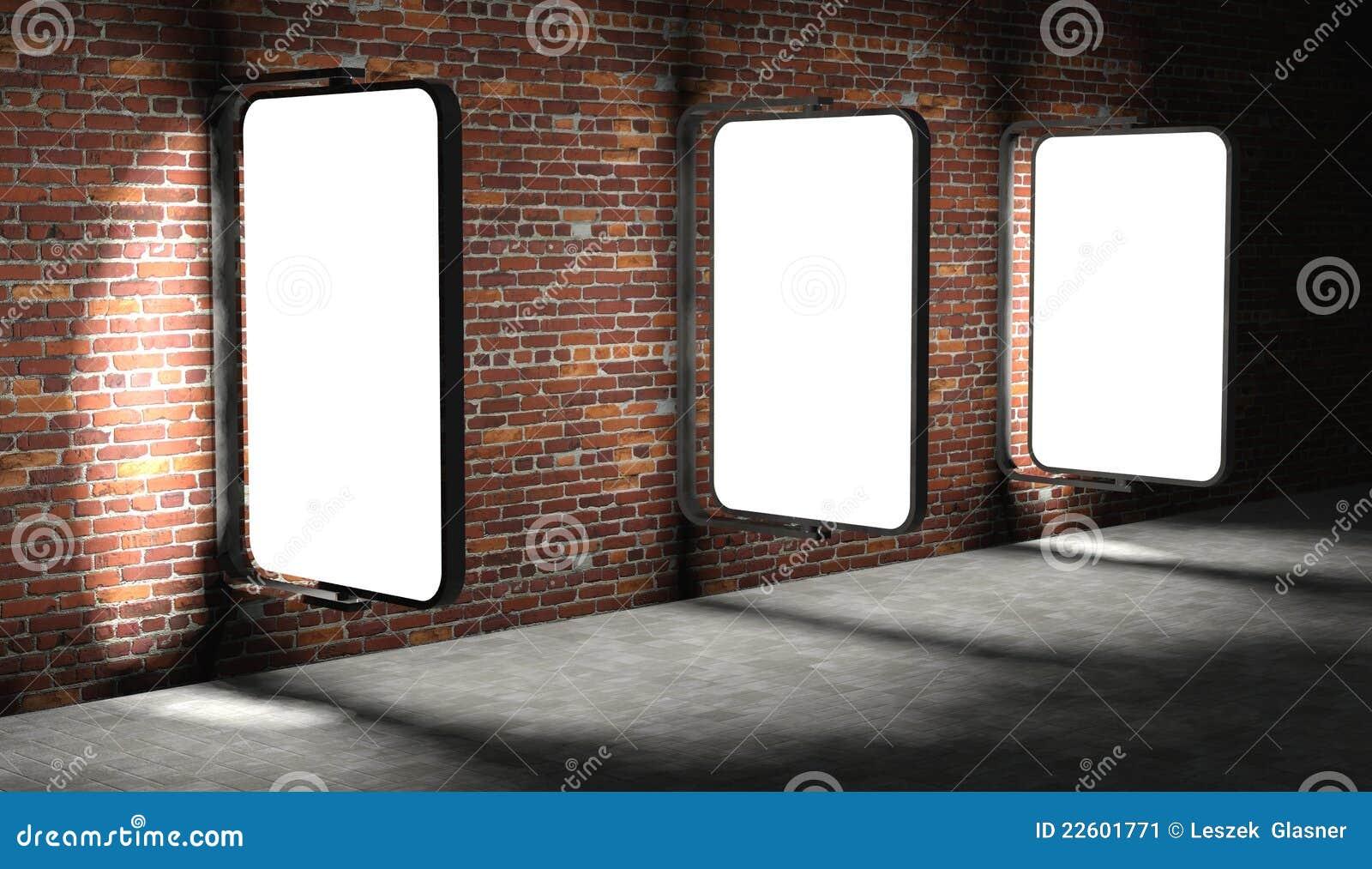 3d Blank Advertising Billboards On Brick Wall Stock Image