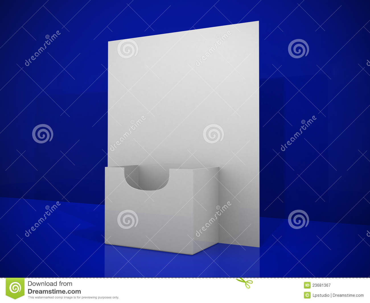 3d blank brochure holder template royalty free stock for Cardboard brochure holder template
