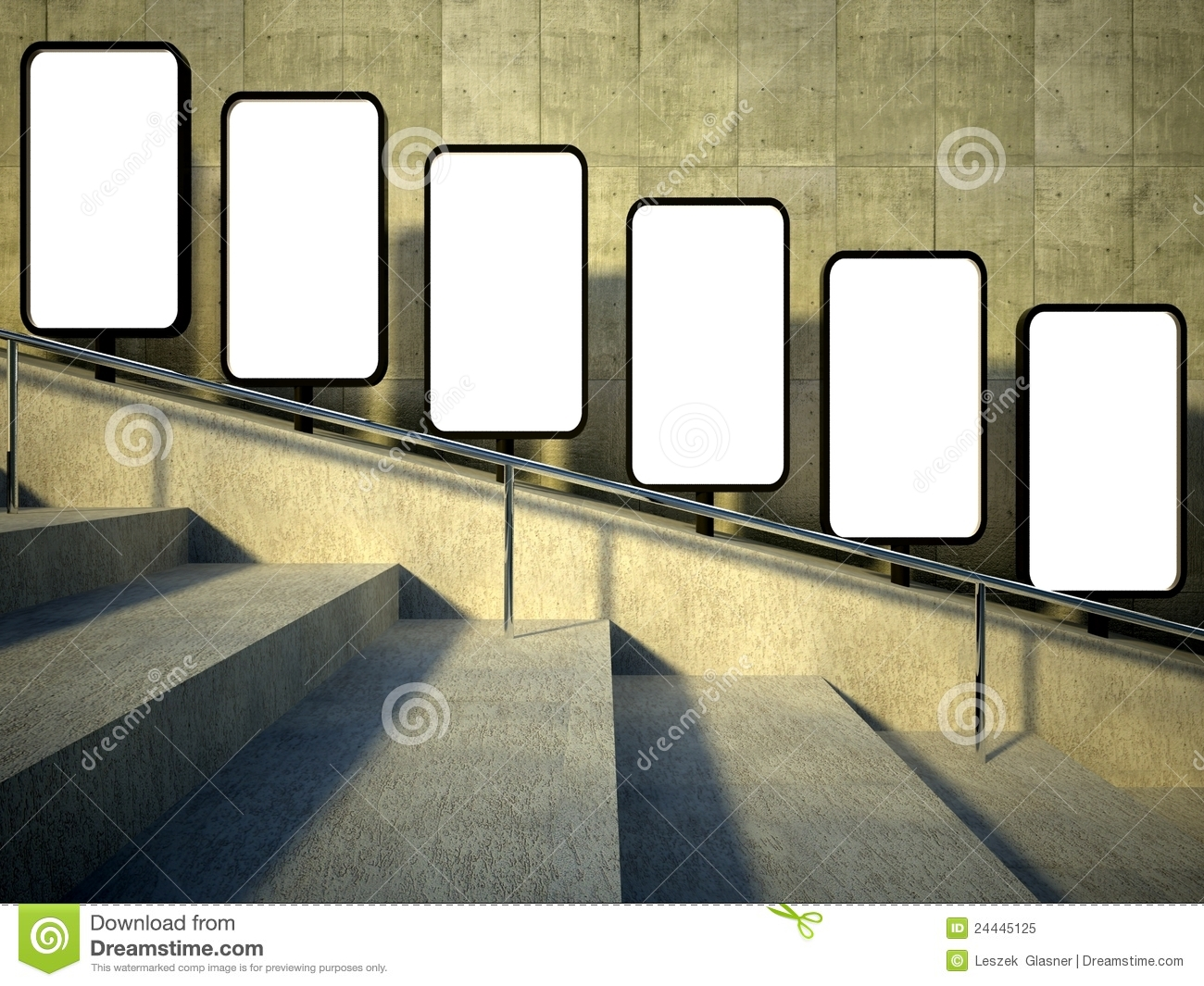 D Blank Street Advertising Billboard Stairs Stock Illustration - Street advertising