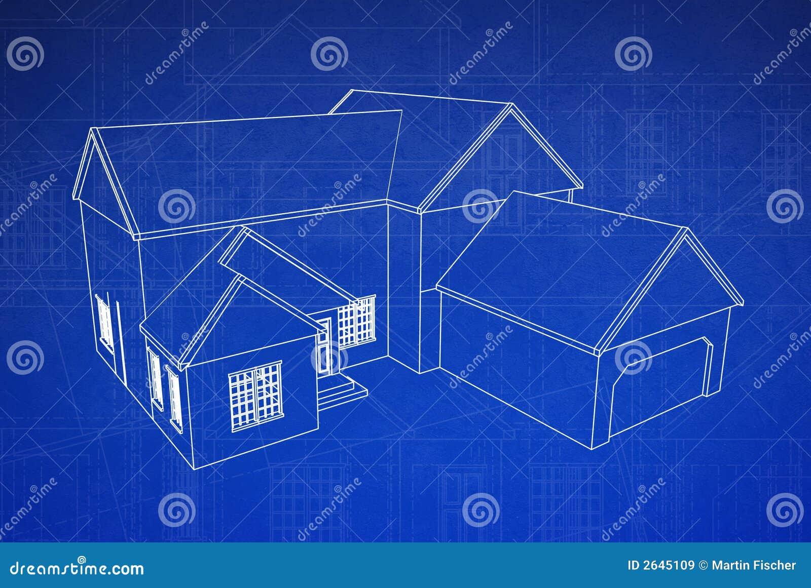 3d Blauwdruk Van Het Huis Stock Illustratie Afbeelding