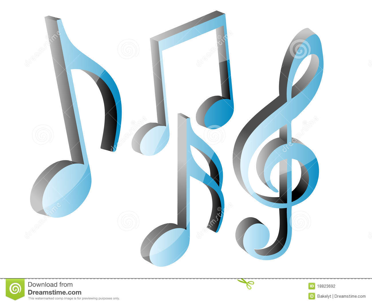3d blue music notes set stock photography image 18823692 treble clef vector file treble clef vector image download