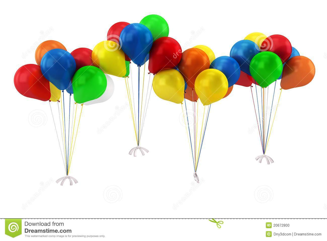 Green and blue balloons - 3d Blue Red Yellow Green And Orange Balloons Stock Photo