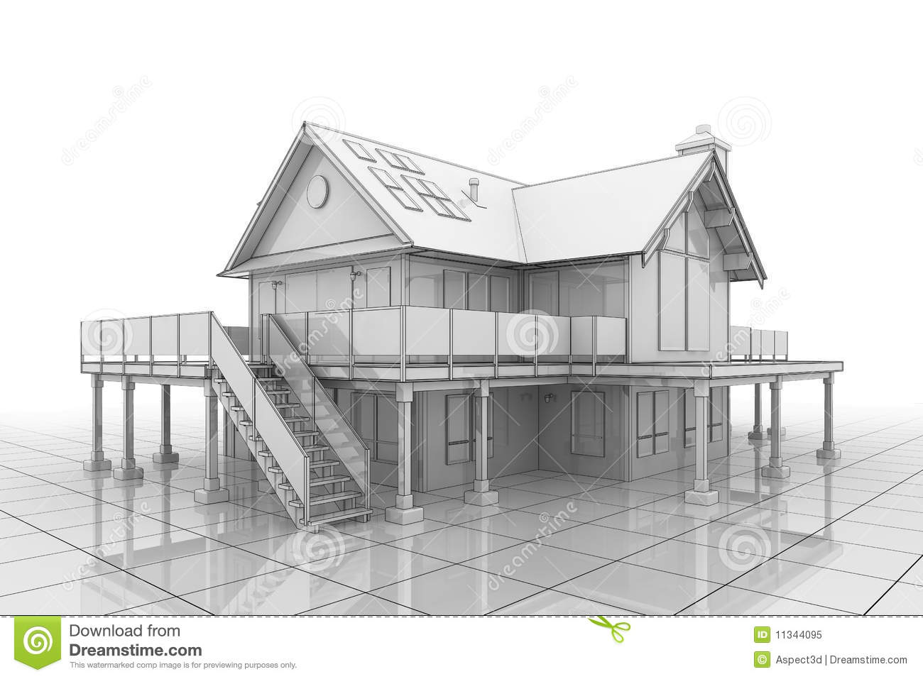 3d Blueprint House Royalty Free Stock Photo Image 11344095