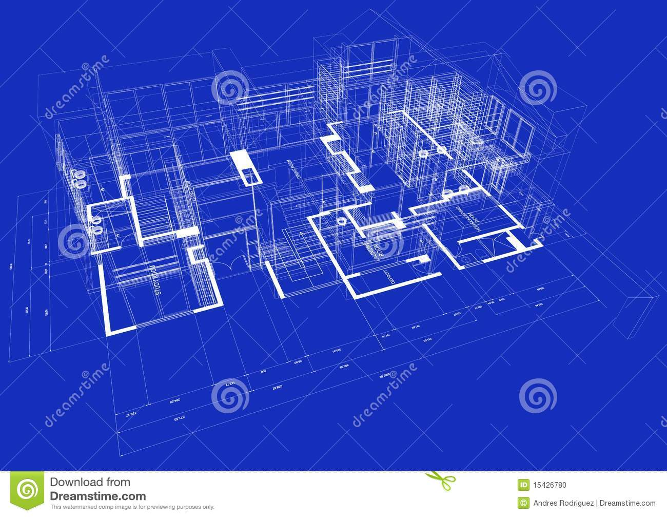 Blueprint for building a house 3d blueprint house stock photo image 15426780 malvernweather Image collections