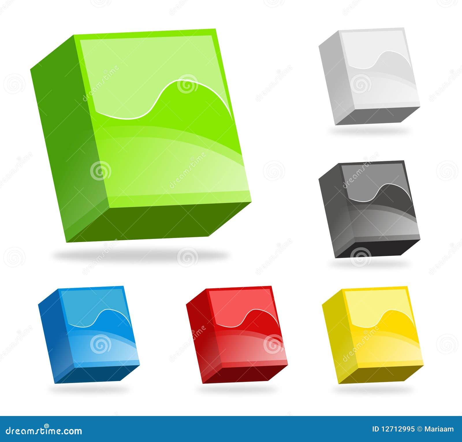 3d boksuje kolorowego