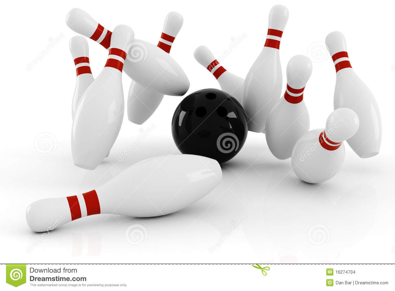 3d Bowling, Strike Isolated On White Stock Images - Image: 16274704