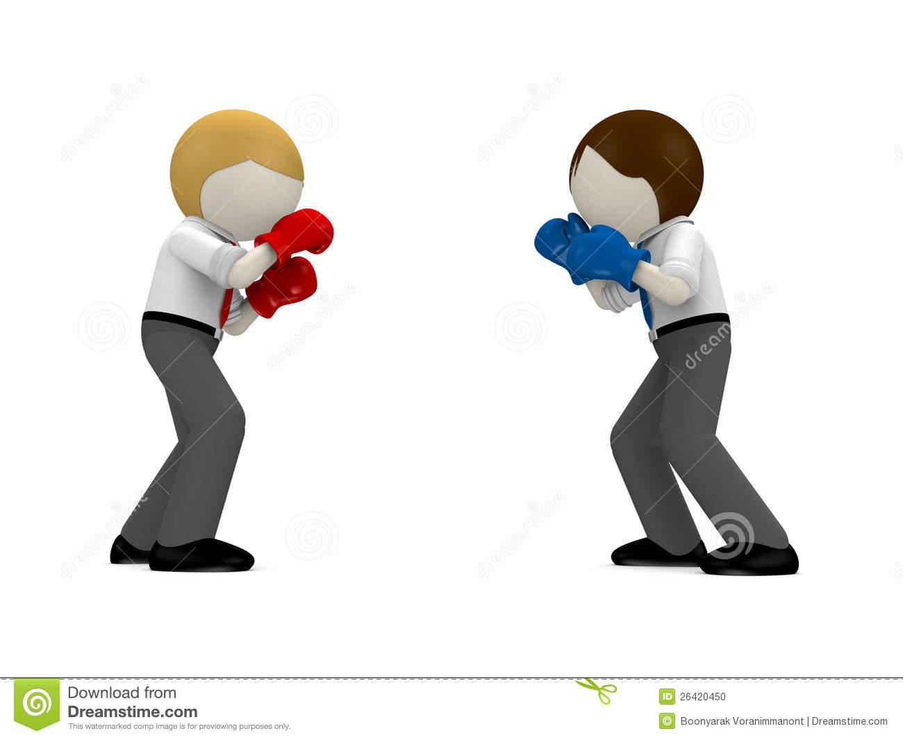 3d Boxing Concept For Business Rivalry. Stock Illustration