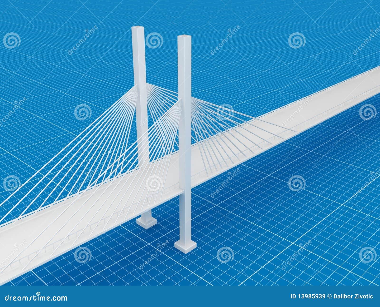 3d Bridge Blueprint 3d Concept Stock Illustration Image