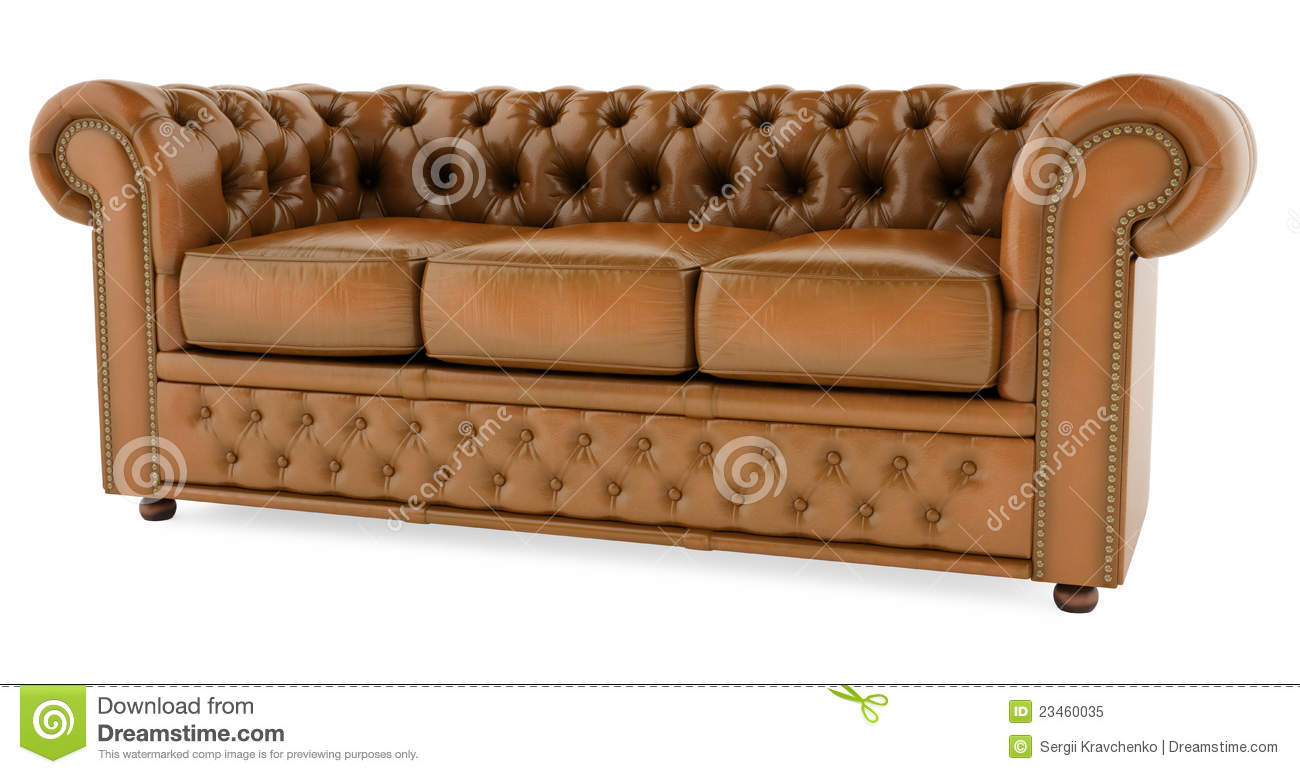 3D Brown Sofa On A White Background Royalty Free Stock
