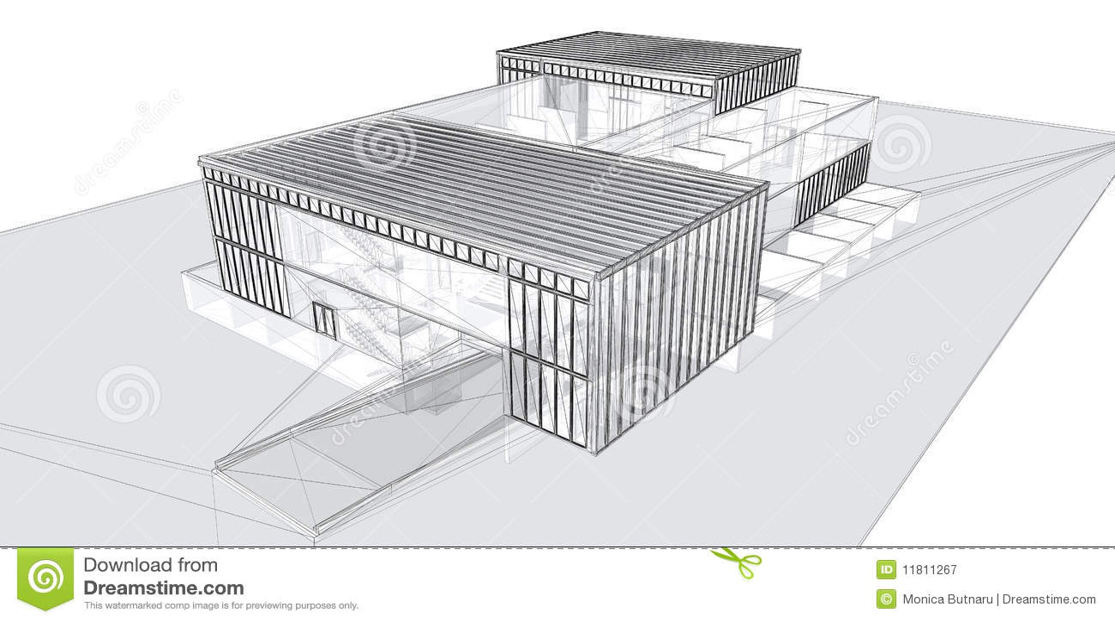 3d budynku ramy renderingu drut