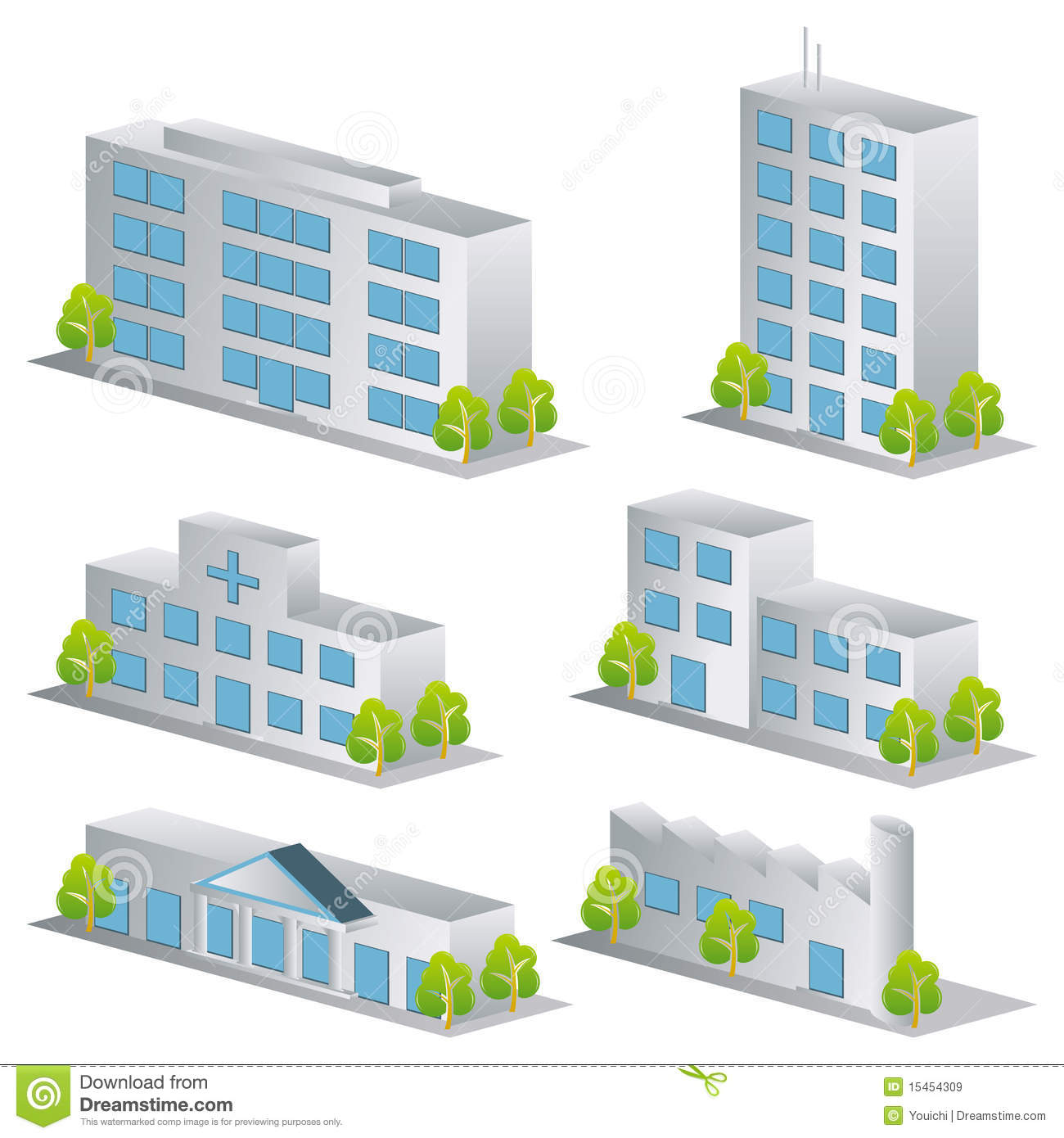 3d Building Icons Set Stock Vector Illustration Of